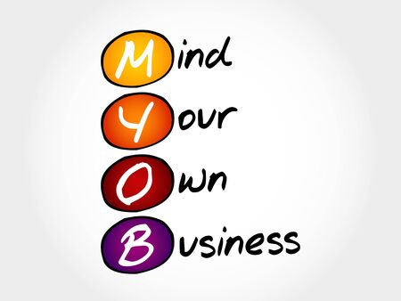 own: MYOB - Mind Your Own Business, acronym business concept