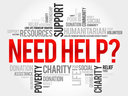 need help: Need help?, word cloud concept