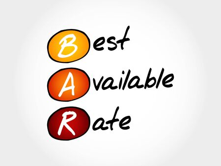 acronym: BAR - Best Available Rate, acronym business concept Illustration