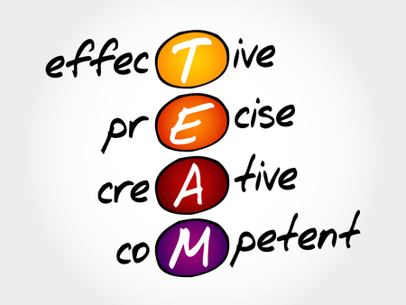 competent: TEAM - Effective, Precise, Creative, Competent, acronym business concept