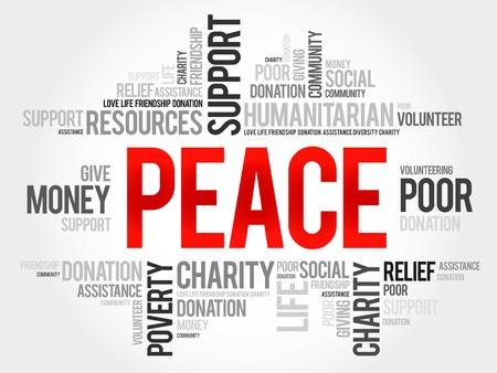 generosity: Peace word cloud concept