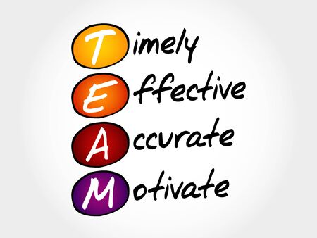timely: TEAM - Timely, Effective, Accurate, Motivate, acronym business concept Illustration