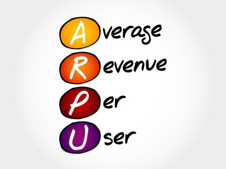 tv unit: ARPU - Average Revenue Per User, acronym business concept