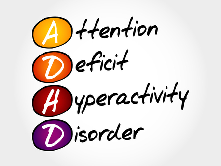 hyperactivity: ADHD - Attention Deficit Hyperactivity Disorder, acronym concept Illustration