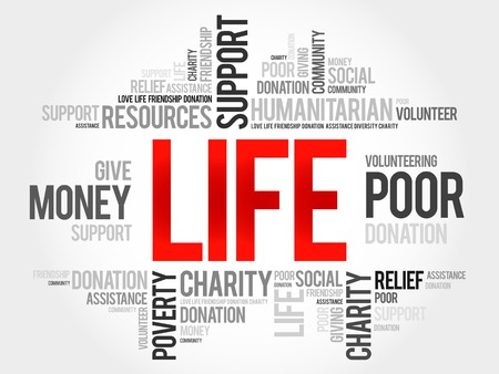 charity and relief work: Life word cloud concept Illustration