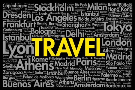 visit us: TRAVEL word cloud concept made with words cities names, business concept background