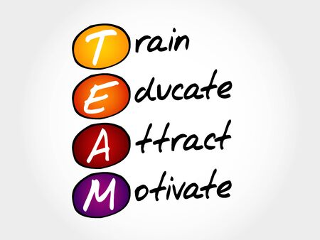 promptly: TEAM - Train, Educate, Attact, Motivate, acronym business concept