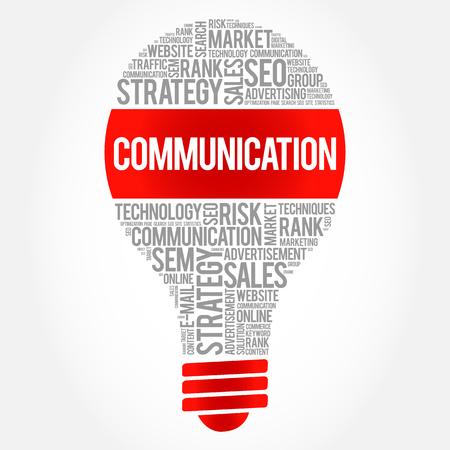 recipient: COMMUNICATION bulb word cloud, business concept