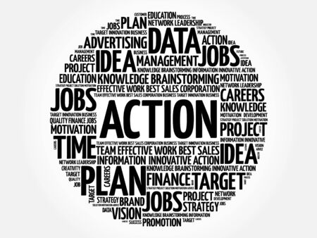 estimating: ACTION word cloud, business concept