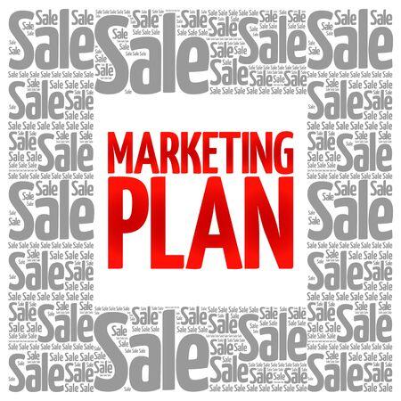 marketer: Marketing Plan words cloud, business concept background Illustration