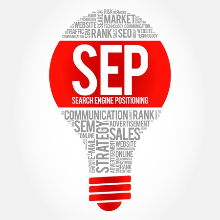 sep: SEP (search engine positioning) bulb word cloud, business concept