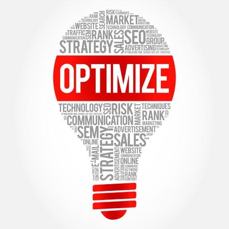 optimize: OPTIMIZE bulb word cloud, business concept Illustration