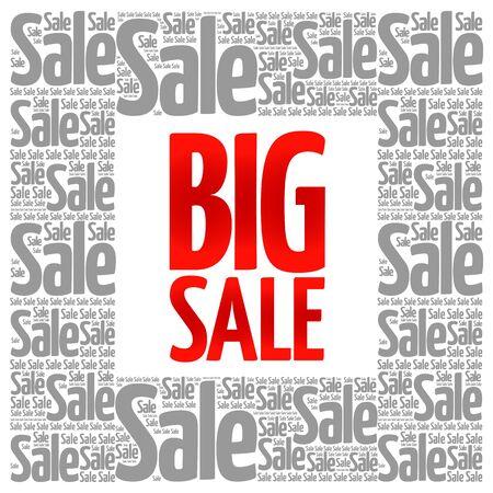 shop floor: BIG SALE words cloud, business concept background Illustration