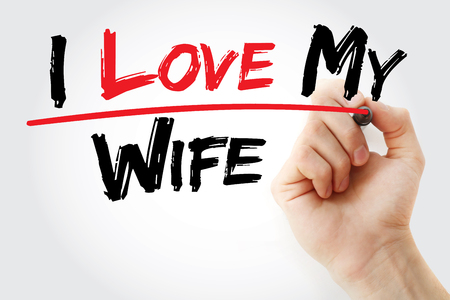 hand writing: Hand writing I love my wife with marker, concept Stock Photo