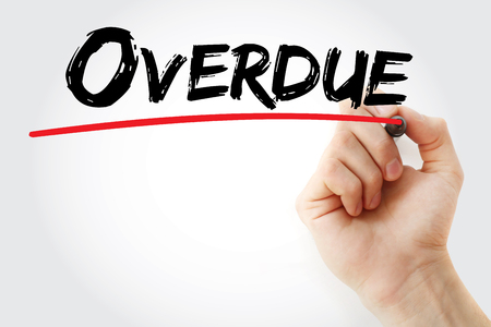 overdue: Hand writing Overdue with marker, business concept Stock Photo