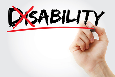 disablement: Turning the word Disability into Ability, concept Stock Photo