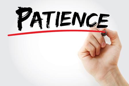 paciencia: La paciencia de escritura a mano con el marcador, el concepto Foto de archivo