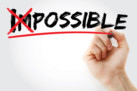 unachievable: Turning the word Impossible into Possible, business concept Stock Photo