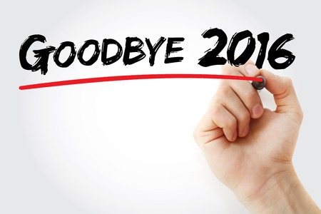 sequential: Hand writing Goodbye 2016 with marker, business concept