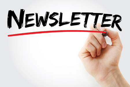 actuality: Hand writing Newsletter with marker, business concept