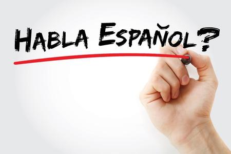 Escritura de la mano habla español? con el marcador, concepto de negocio