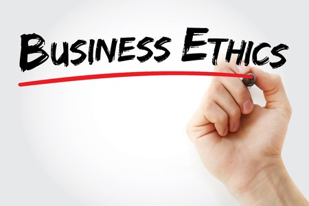 uprightness: Hand writing Business Ethics with marker, business concept Stock Photo