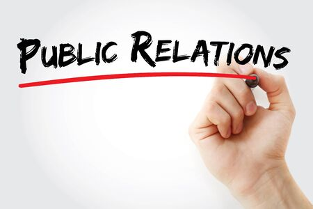 Hand writing Public Relations with marker, business concept Stock Photo