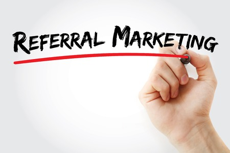 referral marketing: Hand writing Referral Marketing with marker, business concept Stock Photo