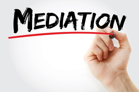 mediate: Hand writing Mediation with marker, business concept