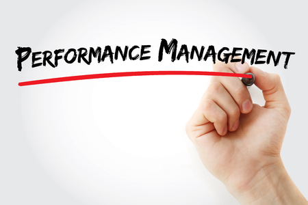Hand writing Performance Management with red marker, business concept