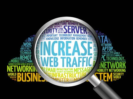 web traffic: Increase web traffic word cloud with magnifying glass, business concept