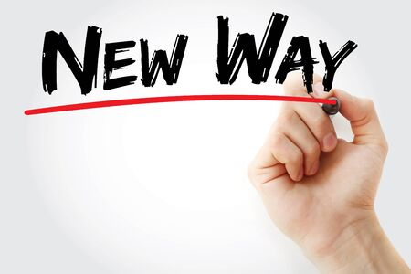 new way: Hand writing New Way with red marker, business concept Stock Photo