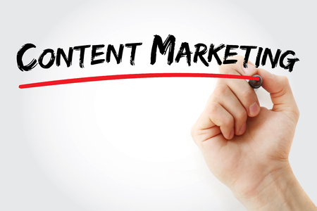 backlink: Hand writing Content Marketing with red marker, business concept