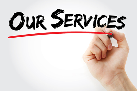 business services: Hand writing Our Services with marker, business concept background