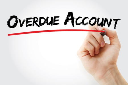 overdue: Hand writing Overdue Account with marker, business concept background