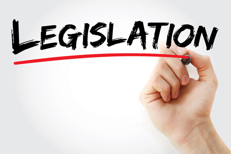 lawfulness: Hand writing Legislation with red marker, business concept Stock Photo