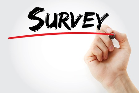 criticize: Hand writing Survey with red marker, business concept
