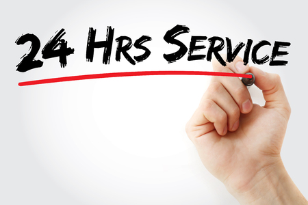 hrs: Hand writing 24 Hrs Service with marker, business concept background
