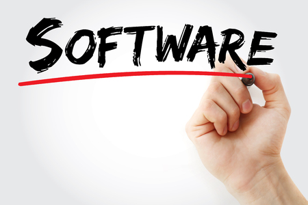 Hand writing Software with marker, business concept background