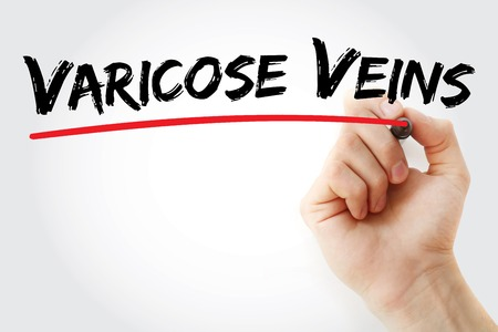 varicose: Hand writing Varicose Veins with marker, health concept background