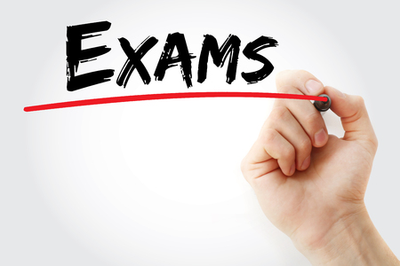 school exam: Hand writing Exams with marker, business concept background