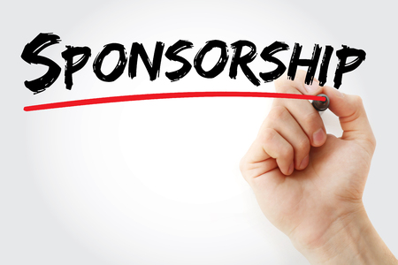 sponsorship: Hand writing Sponsorship with marker, business concept background