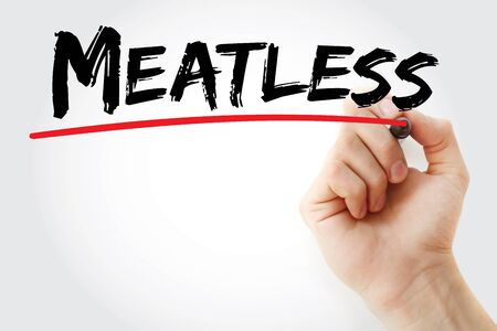 meatless: Hand writing Meatless with marker, concept background Stock Photo