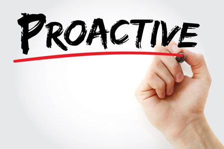 proactive: Hand writing Proactive with marker, business concept background