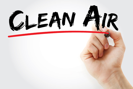 Hand writing Clean Air with marker, health concept background