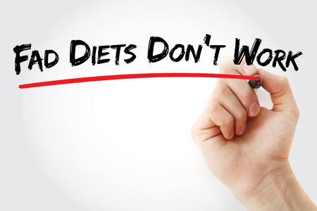 overeat: Hand writing Fad Diets Dont Work with marker, health concept background