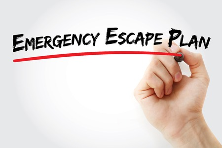 emergency plan: Hand writing Emergency Escape Plan with marker, business concept background