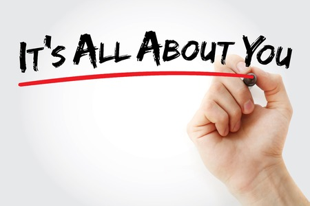 about you: Hand writing Its All About You with marker, health concept background