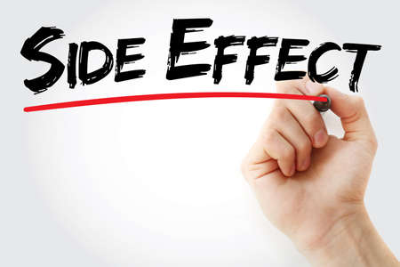 side effect: Hand writing Side Effect with marker, health concept background Stock Photo