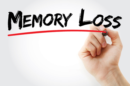 aging brain: Hand writing Memory Loss with marker, health concept background Stock Photo